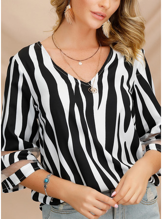 Striped V-Neck 1/2 Sleeves Casual Elegant