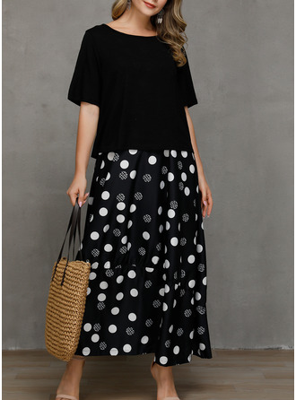 PolkaDot Shift Short Sleeves Maxi Casual Dresses