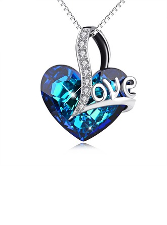 Couples' Chic Crystal With Heart Necklaces For Couple