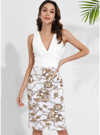 Floral Print Bodycon Sleeveless Midi Party Dresses
