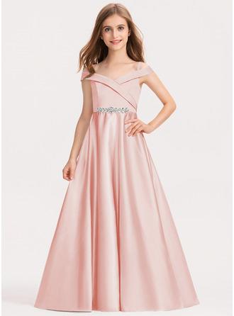 Robe Marquise/Princesse Hors-la-épaule Longueur ras du sol Satiné Robe de demoiselle d'honneur - junior
