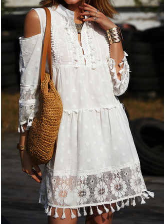 Lace Shift 3/4 Sleeves Cold Shoulder Sleeve Mini Casual Vacation Dresses