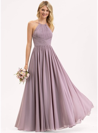Empire Halter Floor-Length Chiffon Bridesmaid Dress With Ruffle Bow(s)