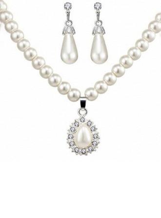 Liga/Falso pérola com Falso pérola Senhoras Conjuntos de jóias