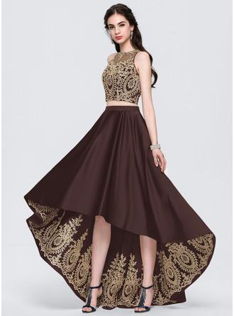 A-Line Scoop Neck Asymmetrical Satin Prom Dresses