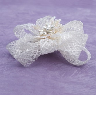 Gorgeous Imitation Pearls/Net Yarn Flowers & Feathers