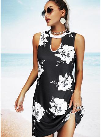 Floral Estampado Vestidos soltos Sem mangas Mini Casual férias Vestidos na Moda