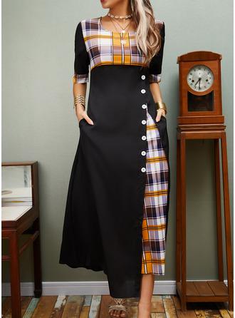 W kratę Sukienka Trapezowa Rękawy 1/2 Maxi Nieformalny Łyżwiaż Modne Suknie