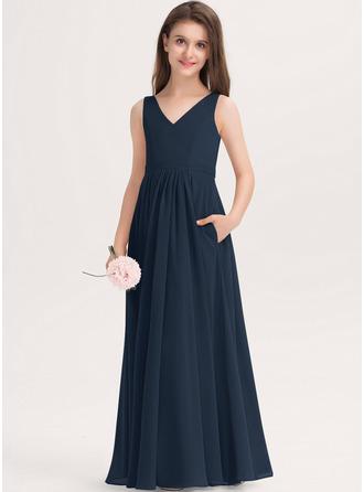 Aライン Vネック マキシレングス シフォン ジュニアブライドメイドドレス とともに ポケット