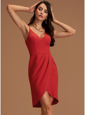 V-Neck Red Stretch Crepe Dresses