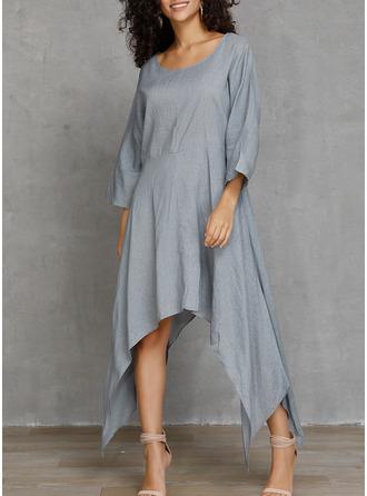 Solid Shiftklänningar 3/4 ärmar Asymmetrisk Fritids Tunika Modeklänningar