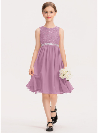 A-Line Scoop Neck Knee-Length Chiffon Lace Junior Bridesmaid Dress With Beading Bow(s)