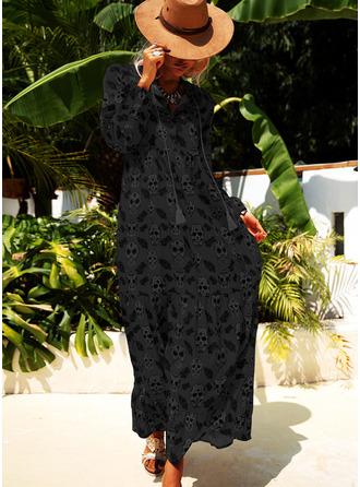Tisk Šaty Shift 1/2 rukávy Maxi Neformální Módní šaty