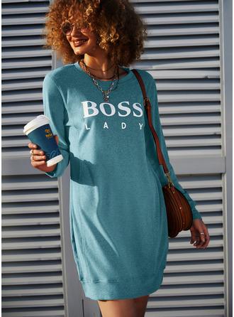 Распечатать Прямые платья Длинные рукова Мини Повседневная Фуфайка Модные платья