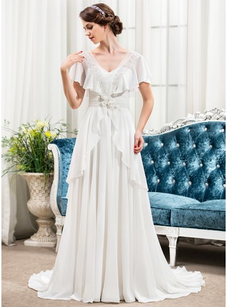 A-Line/Princess V-neck Sweep Train Chiffon Wedding Dress With Beading Appliques Lace Flower(s) Sequins Bow(s)