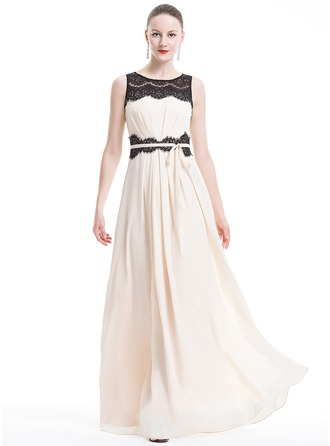 A-Line/Princess Scoop Neck Floor-Length Chiffon Lace Holiday Dress With Ruffle Bow(s)