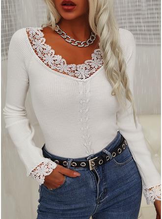 Lace Solid V-Neck Long Sleeves Elegant Blouses