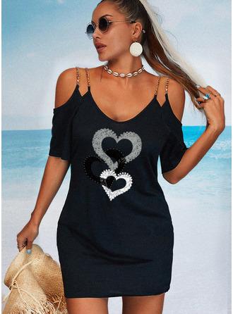 Print Heart Sheath 1/2 Sleeves Mini Casual Vacation Dresses