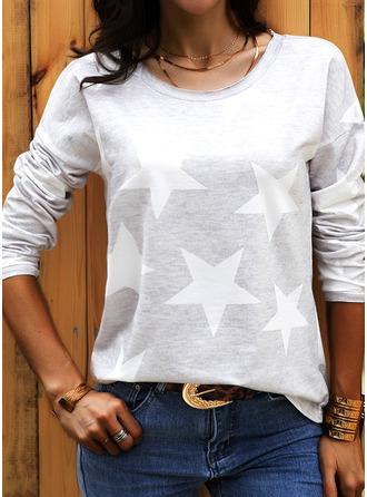 Druck Rundhalsausschnitt Lange Ärmel Lässige Kleidung T-shirt