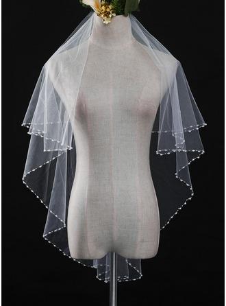 Uma camada Corte pérola Valsa nupcial véus com Renda