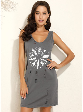 Above Knee V neck Polyester Print Sleeveless Fashion Dresses