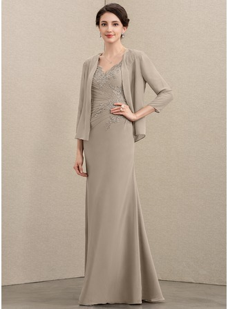 A-Line V-neck Floor-Length Chiffon Mother of the Bride Dress With Ruffle Appliques Lace