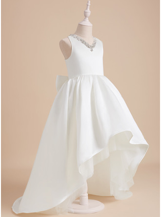 Ball-Gown/Princess V-neck Sweep Train With Beading Satin Flower Girl Dress