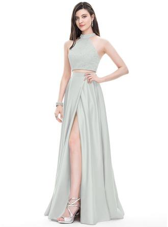 Corte A/Princesa Escote redondo Cuello alto Hasta el suelo Satén Vestido de baile de promoción con Apertura frontal