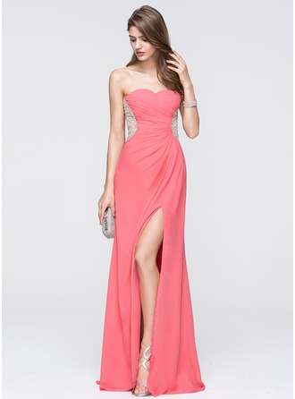 A-Line/Princess Sweetheart Sweep Train Chiffon Prom Dress With Ruffle Split Front