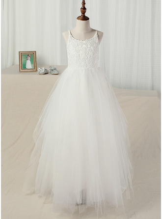 A-Line/Princess Floor-length Flower Girl Dress - Tulle/Lace Sleeveless Straps