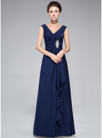 Sheath/Column V-neck Floor-Length Jersey Mother of the Bride Dress With Beading Sequins Cascading Ruffles