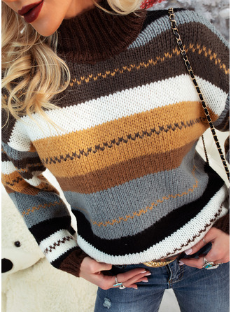 Turtleneck Casual Striped Chunky knit Sweaters