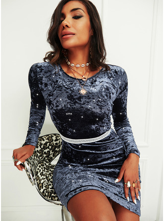 Sequins Solid Bodycon Long Sleeves Mini Party Dresses