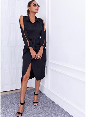 Solide Koker Lange Mouwen Medium Zwart jurkje Elegant ()
