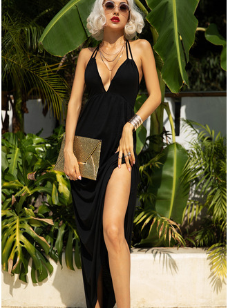 Solid A-line Sleeveless Maxi Little Black Sexy Vacation Skater Type Dresses