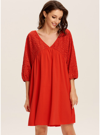 Knee Length V neck Polyester Lace/Solid Long Sleeves Fashion Dresses