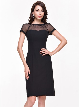 Sheath/Column Scoop Neck Knee-Length Chiffon Cocktail Dress With Ruffle
