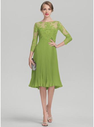 A-Linie Schatz Knielang Chiffon Kleid für die Brautmutter mit Gefaltet