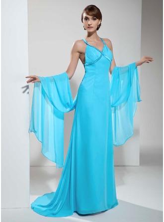 A-Linie V-Ausschnitt Sweep/Pinsel zug Chiffon Festliche Kleid mit Rüschen Perlstickerei