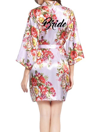 Personalized Bride Bridesmaid Polyester With Short Personalized Robes Floral Robes