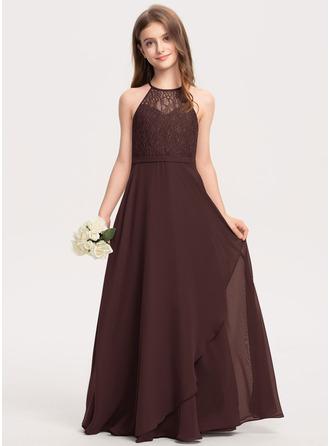 Corte A Decote redondo Longos Tecido de seda Renda Vestido de daminha júnior com Babados em cascata