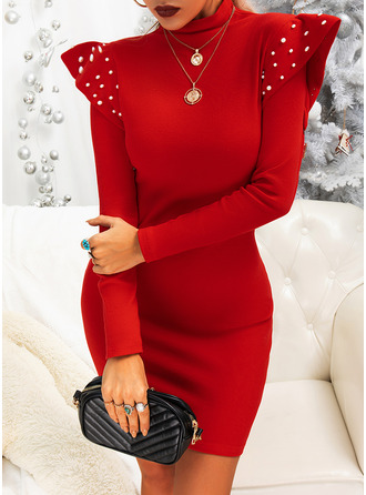 Solid Beaded Bodycon Long Sleeves Mini Little Black Party Elegant Dresses