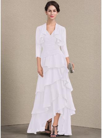 Corte A Decote V Assimétrico Tecido de seda Vestido para a mãe da noiva com Beading lantejoulas Babados em cascata