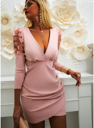Kant Solide Bodycon Lange Mouwen Pof Mouwen Mini Party Elegant ()