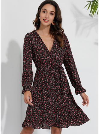 Blomstrete Trykk A-line kjole Trekvart ermer Mini Avslappet Elegant skater Wrap Motekjoler