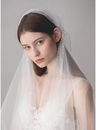 Einschichtig Ellenbogen Braut Schleier mit Strasssteine