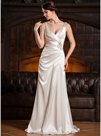 Sheath/Column V-neck Court Train Charmeuse Wedding Dress With Ruffle Lace Beading Sequins