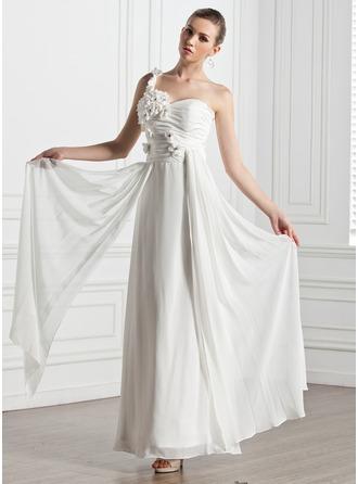 Corte A/Princesa Escote corazón Un sólo hombro Hasta el tobillo Chifón Vestido de novia con Volantes Flores
