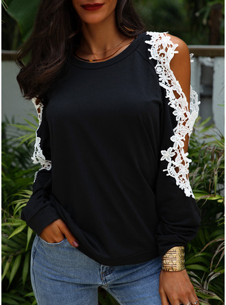 Lace Solid Cold Shoulder Long Sleeves Casual Elegant