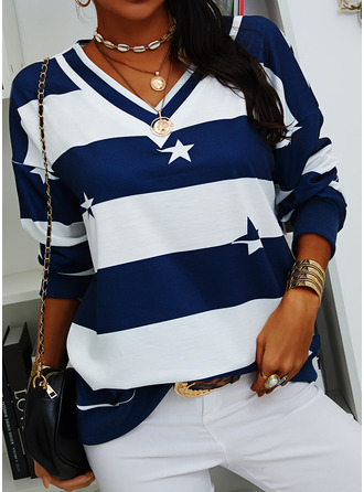 Print Striped V-Neck Long Sleeves Sweatshirt